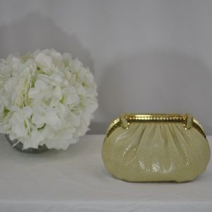 Judith Leiber Clutch - Beige with Gold Frame